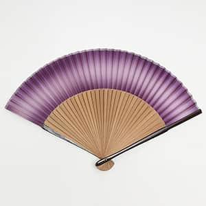 絹貼扇子 親ラメ塗 唐木 紫ぼかし 箱付き