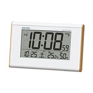 セイコー 温湿度表示付きデジタル電波時計 広視野角 SQ771B