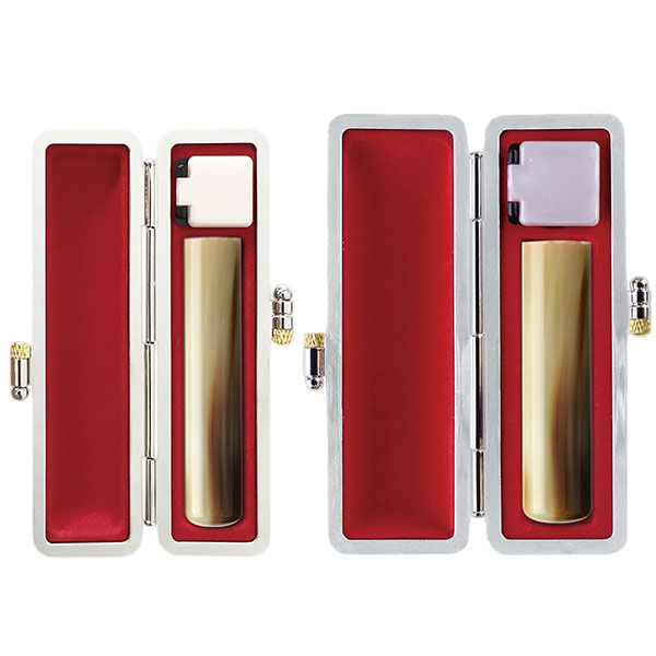 印鑑 銀行印・実印2本セット 牛角(並)12mm・15mm 銀枠牛革グランドケース