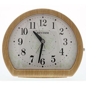 リズム 卓上型アナログ時計 円形 木目調 薄茶