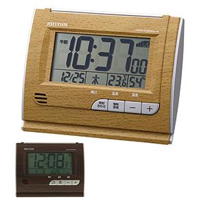 リズム 卓上電波時計 電子音アラーム 4段階切替機能付き 茶色 濃茶
