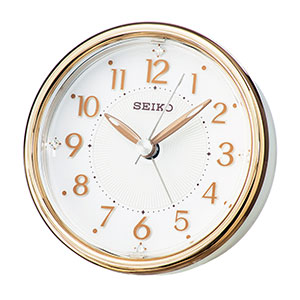セイコー アナログ目覚まし時計 卓上 銅色光沢仕上げ 薄ピンク光沢仕上げ KR897