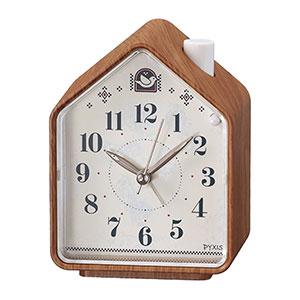 セイコータイムクリエーション社製 PYXIS ネイチャーサウンド音源 目覚まし時計 茶木目模様 NR444