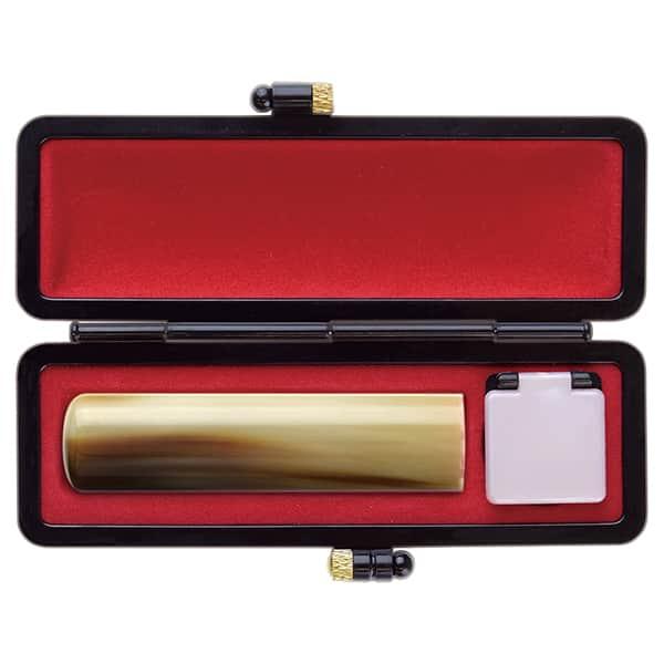 印鑑 牛角(並)13.5mm オリジナルブラックケース 銀行印・実印向き