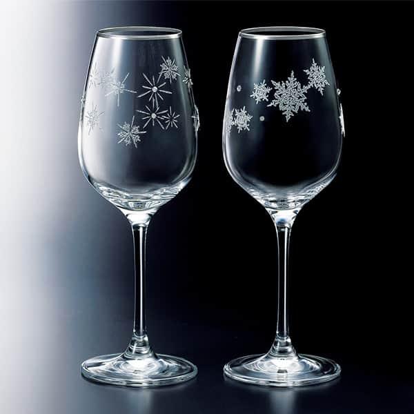 NARUMI グラスワークス スノー&スター ペアワイン グラス カリクリスタル 340cc