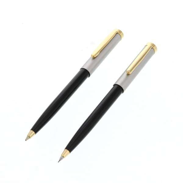 ビジネス文具フルセット手帳型 レトロ調ボールペン&シャープペン ポケット電卓付き