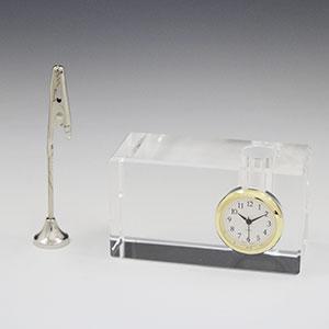 クリップ・ペンスタンド付 セイコータイムクリエーション社製クリスタル時計