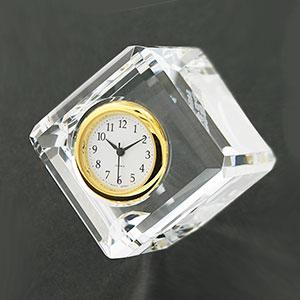 ダイアゴナルカットキューブクロック セイコータイムクリエーション社製時計付