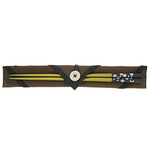 天然木マイ箸セット 銀舞桜 黄 + 箸袋 無地茶