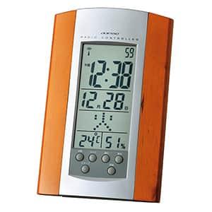 温湿度表示付 木製電波時計 掛け置き兼用