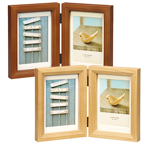 階段状木製フォトフレーム ポストカードサイズ×2