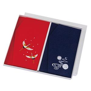 正絹ちりめん刺繡金封ふくさ 二羽鶴×菊