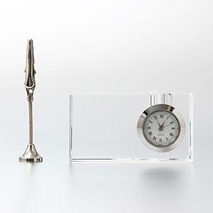 クリップ・ペンスタンド付 クリスタル時計