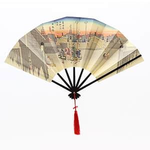 飾り版画扇 広重日本橋 飾り台付