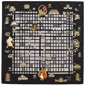 自遊布 地図の風呂敷 洛中洛外図 京都 尺三巾(W500×H500mm)